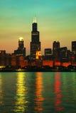 Cityscape van de binnenstad van Chicago Royalty-vrije Stock Afbeelding
