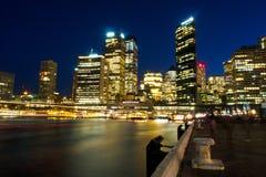 Cityscape van de de nachtscène van Sydney Royalty-vrije Stock Afbeeldingen