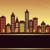Cityscape van de herfst illustratie Stock Afbeelding