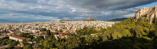 Cityscape van de Heuvel van Athene en Lycabettus-, Griekenland Athene is de hoofd en grootste stad van Griekenland Royalty-vrije Stock Foto