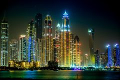 Cityscape van de Jachthaven van Doubai, de V.A.E Royalty-vrije Stock Afbeeldingen