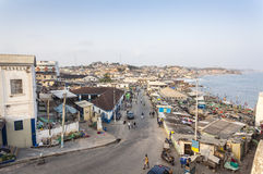 Cityscape van de kaapkust, Ghana stock foto's