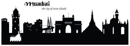 Cityscape van de Mumbaihorizon Silhouet stock illustratie