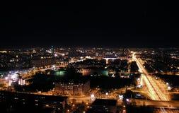 Cityscape van de nacht, Belgrado Stock Afbeelding