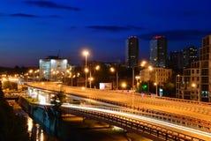 Cityscape van de nacht. Rostov-op-trek aan. Rusland Royalty-vrije Stock Foto