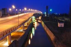 Cityscape van de nacht. Rostov-op-trek aan. Rusland Royalty-vrije Stock Foto's