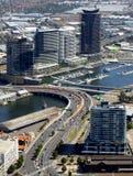 Cityscape van de Rivier van Melbourne en Yarra- Royalty-vrije Stock Foto's