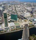 Cityscape van de Rivier van Melbourne en Yarra- Stock Foto
