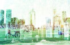 Cityscape van de stad van Singapore, op witte achtergrond wordt geïsoleerd die Royalty-vrije Stock Afbeelding