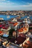 Cityscape van de de Stadszonsondergang van Istanboel Royalty-vrije Stock Afbeelding