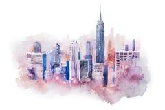 Cityscape van de waterverftekening grote stad de stad in, aquarelle het schilderen Stock Afbeeldingen