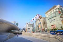 Cityscape van Dongdaemun op Jun 18, 2017 Het is commercieel en Royalty-vrije Stock Afbeelding