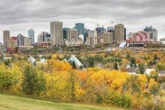 Cityscape van Edmonton met kleurrijke esp in de herfst Stock Fotografie
