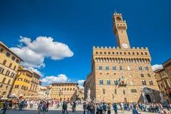 Cityscape van Florence in Italië Zonnige avond Stock Foto