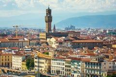 Cityscape van Florence in Italië Zonnige avond in de lente Royalty-vrije Stock Foto's