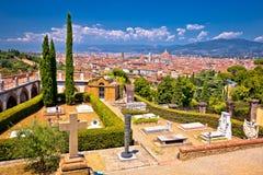Cityscape van Florence panorama van al Monte van San Miniato stock fotografie