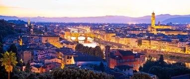Cityscape van Florence panoramische avondmening stock foto