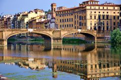 Cityscape van Florence tegen dag, Ponte Vecchio Royalty-vrije Stock Foto's