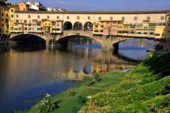 Cityscape van Florence tegen dag, Ponte Vecchio Stock Foto