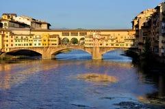 Cityscape van Florence tegen dag, Ponte Vecchio Stock Afbeelding