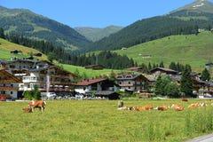 Cityscape van Gerlos in Tirol Oostenrijk Stock Foto