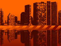 Cityscape van Grunge Stock Foto