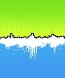 Cityscape van Grunge achtergrond met muziekantenne Royalty-vrije Stock Afbeeldingen