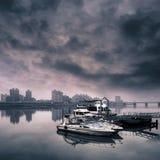 Cityscape van haven Stock Foto