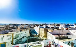 Cityscape van historische stad van Essaouira in Marokko stock afbeeldingen