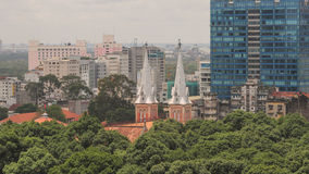 Cityscape van Ho Chi Minh-stad Royalty-vrije Stock Afbeelding