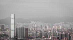 Cityscape van Hong Kong in zwart-wit Stock Foto