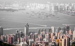 Cityscape van Hong Kong in zwart-wit Stock Afbeelding