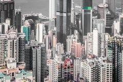Cityscape van Hong Kong in zwart-wit Stock Fotografie