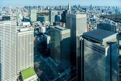 Cityscape van Japan de mening van het vogeloog bij middag stock foto
