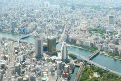 Cityscape van Japan Tokyo, commerciële en woningbouw, weg Stock Afbeelding