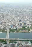 Cityscape van Japan Tokyo de bouw, weg luchtmening Stock Fotografie