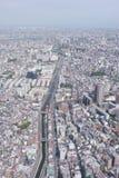 Cityscape van Japan Tokyo de bouw, weg luchtmening Royalty-vrije Stock Afbeeldingen