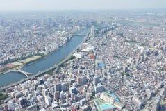 Cityscape van Japan Tokyo de bouw, weg luchtmening Stock Afbeelding
