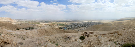 Cityscape van Jericho van Judea-woestijn. royalty-vrije stock foto