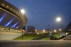 Cityscape van Katowice bij nacht Het gebied van Silesië, Polen Stock Afbeeldingen