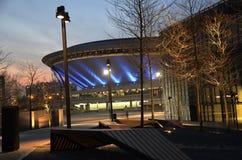 Cityscape van Katowice bij nacht Het gebied van Silesië, Polen Stock Foto