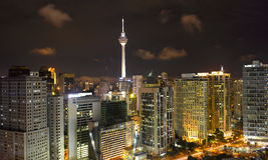 Cityscape van Kuala Lumpur met KLtower Royalty-vrije Stock Foto