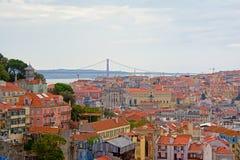 Cityscape van Lissabon, met Tagus-rivier en 25ste April-brug Royalty-vrije Stock Fotografie