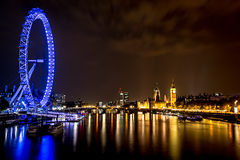 Cityscape van Londen bij nacht Royalty-vrije Stock Foto