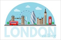 Cityscape van Londen vector clipart met het van letters voorzien royalty-vrije illustratie