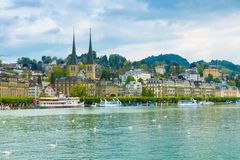 Cityscape van Luzerne, Zwitserland Stock Afbeelding