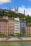 Cityscape van Lyon van rivier Saone Stock Foto