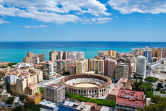 Cityscape van Malaga - Overzees Stock Foto