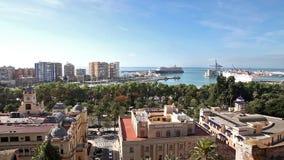 Cityscape van Malaga in Spanje stock videobeelden