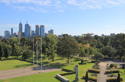 Cityscape van Melbourne Botanische Tuinen Australië Royalty-vrije Stock Foto